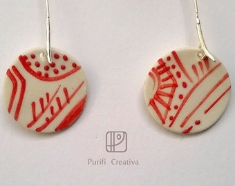 Earring porcelaine and silver