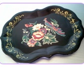 Vintage Black Tole Tray with Peacock and Floral Design Hand Painted