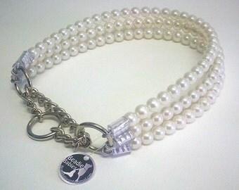 Triple Strand Pearl Dog Collar,Cat collar, Buckle Collars, Martingale Collars, Dog Pearls, Half Check Collar, UNBREAKABLE GUARANTEE!