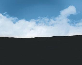 Glen Tilt 11, original fine art photography, print, landscape, rock, scotland, blair atholl, sky, hills, mountains, blue, black, clouds