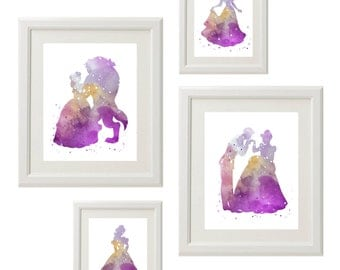 Disney Princess silhouette Wall Art, Girl Room Playroom Decor Art, Watercolor Printable, Set of 4, 2-8x10 and  2-5x7, INSTANT DOWNLOAD
