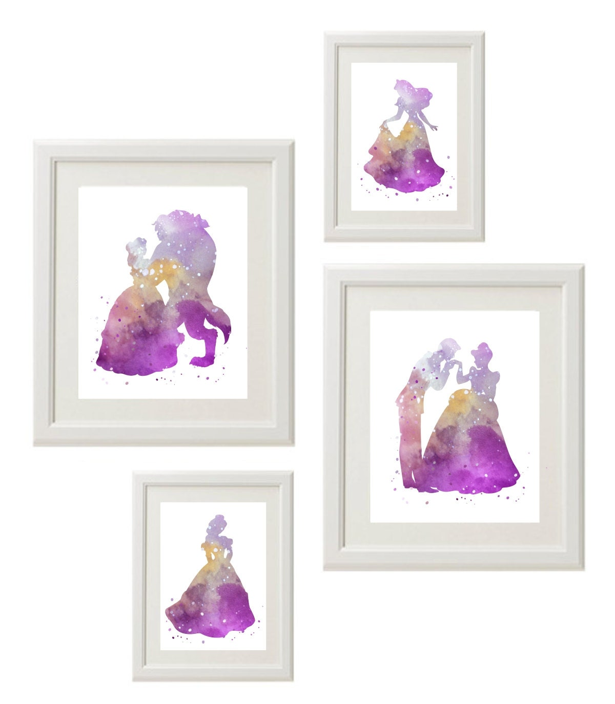 disney princess silhouette wall art girl room playroom decor. Black Bedroom Furniture Sets. Home Design Ideas