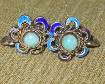 Vintage Chinese enamel jade earrings
