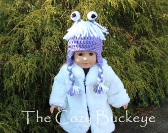 Boo Crochet Hat inspired by Monster's Inc for an American Girl Doll 18 inch Doll Bitty Baby Doll Character Hat