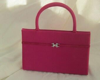 Hot Pink Satin Evening Bag