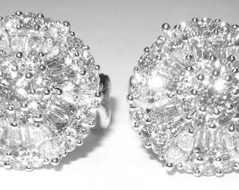 Estate Retro 18k & Diamond Earrings 3 carats +