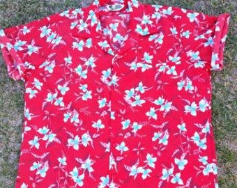 vintage red and blue floral hawaiian shirt