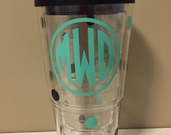 Monogrammed 24 oz. Tervis Tumbler with Polka Dots