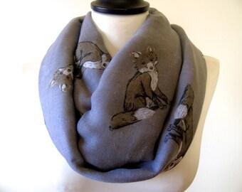 Fox print infinity scarf, circle scarf, fox scarf, print scarf women, loop scarf, spring scarf