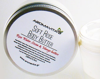 Soft Rose Body Butter With Cocoa & Mango Butters , Great Natural Moisturizer
