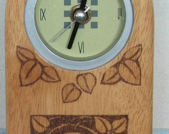 wood mantel clock, wood mackintosh style clock,decoupage clock, mantel clock,