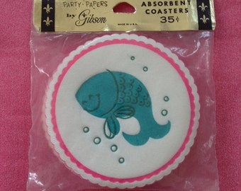 Vintage Paper Coasters Smiling Fish Pakay Party Papers Gibson