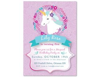 Unicorn Invitation, Unicorn Birthday Party, Printable, Customized, Unicorn Party, Unicorn girls birthday invite, pink and purple unicorn