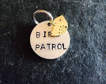Bird patrol handstamped pet tag