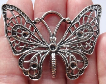 3 Butterfly Charms Silver Tone  48 x 36mm - SC271