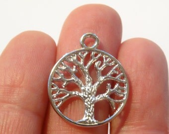 6 Tree of Life charms Antique Silver 24mm x 20mm - SC293