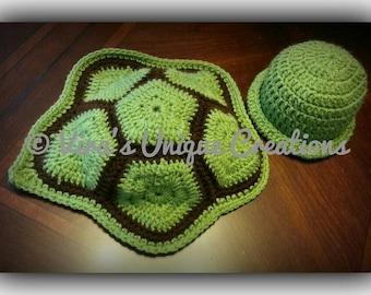 Crochet newborn turtle hat and cape prop set, crochet newborn prop set,crochet baby hat,crochet baby turtle hat, baby prop set,made-to-order