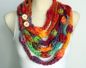 Rainbow Cowl Scarf - Knit Necklace Scarf - Knit Cowl Scarf - Knit Circle Scarf - Knit Infinity Cowl - Thick Winter Cowl - Unique Cowl