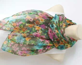 Floral Silk Scarf Green Fashion Scarves Womens Scarves Unique Handmade Scarves Ladies Scarves Personalized Gift Christmas Gift for women