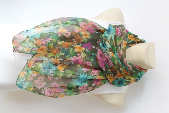 Floral Silk Scarf Green Fashion Scarves Womens Scarves Unique Handmade Scarves Ladies Scarves  Chiffon Boho Scarves Summer Outdoors Party