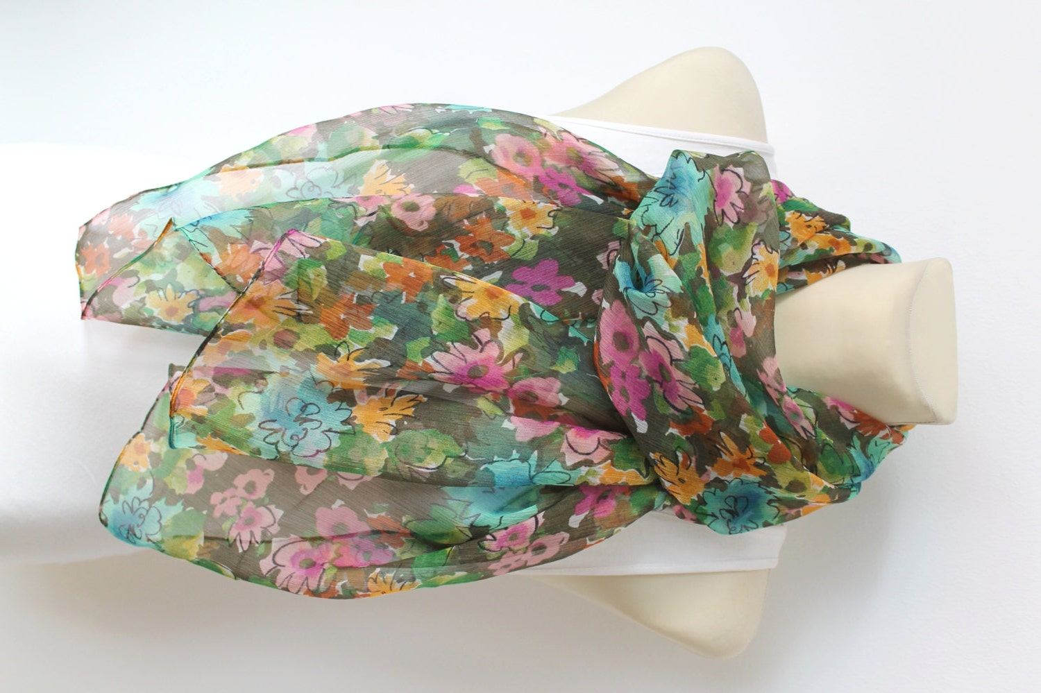 floral silk scarf green fashion scarves womens scarves unique