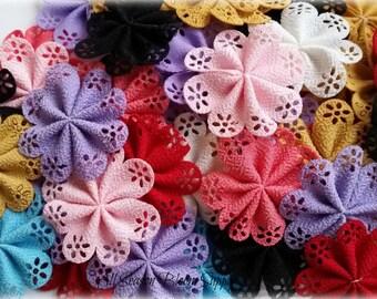 "Grab Bag of Mini Eyelet Fabric Flowers - Satin Flower 2.1"" -  Fabric Flower - Sew Flowers - Ribbon Flower"