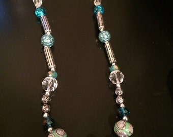 Turquoise Surprise -  turquoise bracelet, metal like beads, 2timothys16, turquoise necklace, turquoise bracelet, light blue gem cut beads
