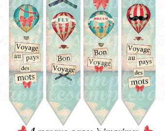4 bookmarks - Digital image bookmark hot air balloon, scrapbooking, printable collage, printable bookmark, digital collage, digital image