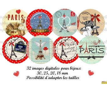 Digital Collage Sheet Paris 1 inch Bottle Cap Charms Paris Eiffel tower Images  Instant Download digital images Paris, one inch round