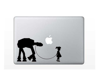 Star Wars Walker girl walking  At At  Macbook Decal / Macbook Sticker AT-AT on leash