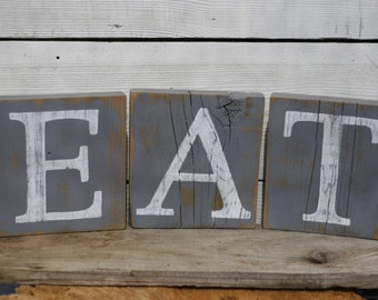 Eat Sign Blocks Gray Rustic Reclaimed Wood Country Kitchen Decor Hand Painted