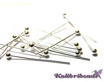 100x Silver Coloured Head Pins 20 mm with Ball