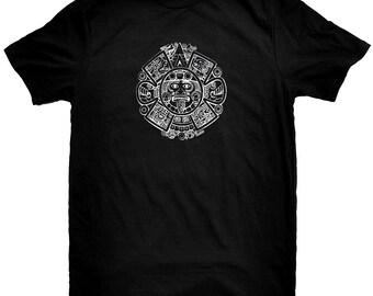 Aztec Calendar Black T-Shirt.
