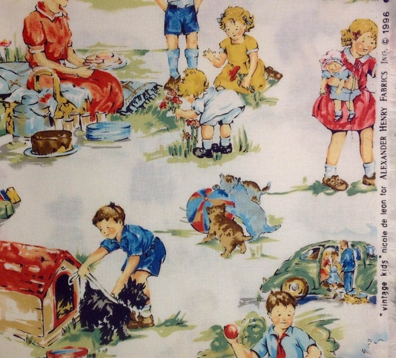 Alexander henry vintage kids fabric for Retro kids fabric