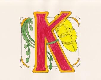 Monogram - K - Art Deco Style