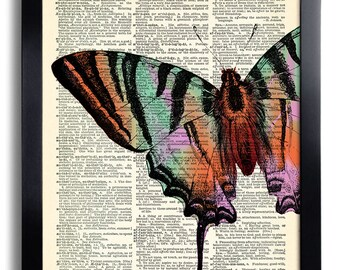 Butterflies Butterfly Art Print Vintage Book Print Recycled Vintage Dictionary Page Collage Repurposed Book Upcycled Dictionary 406