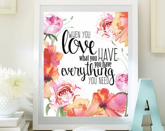 dorm wall art love inspirational print teen room decor digital print motivational art romantic quotes love - Teen Wall Decor