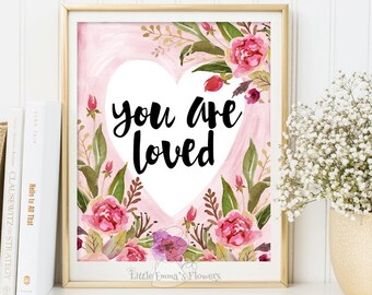 You are loved nursery print Nursery print decor quote print nursery wall decor child wall art inspirational quote, Kids Wall Art 161