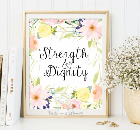Dignity Wall: Strength And Dignity Proverbs 31:25 Flower Wall Art Quotes