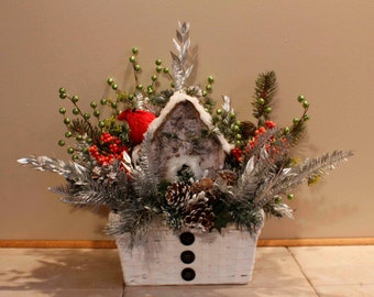 Woodland Cardinal Birdhouse Winter Floral Arrangement Pam'sDeZines Cardinal Birdhouse Arrangement Winter Woodland Centerpiece (Item 200)