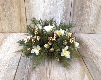 Natural Woodland Evergreen & Ivory Centerpiece with Candle