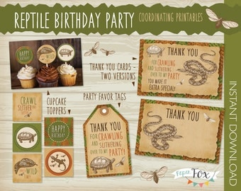Reptile Birthday Party Essentials Pack - Reptile Cupcake Toppers, Reptile Thank You Cards, Reptile Favor Bag Tags, Boy Birthday / PRINTABLE