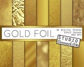 Gold Foil Textures - Gold Digital Paper - Textured Gold and Shiny Metallic - Commercial Use Glitter Backgrounds - Instant Download