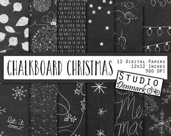 Chalkboard Christmas Digital Paper - Snowflakes / Snow / Stars / Script / Trees / Snow Dust - Chalkboard Patterns - Instant Download