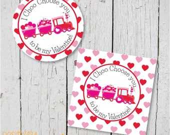 I Choo Choose You... Train Themed Valentine's Day  Printable Stickers, Cupcake Toppers or Decorations