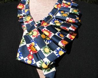 Ruffled Silk Scarf / Scarfette - Pleated Silk Ascot - Repurposed Necktie Scarf