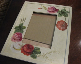 Beautiful Vintage Hand Painted Frame with Rose Design by Artistic Moments!