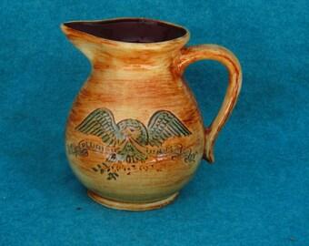"""Pennsbury Pottery Pitcher Milk 6 3/8"""" E Pluribus Unum"""