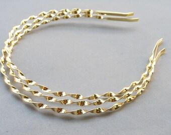 20pcs 4mm Gold Metal twist Headbands, curly headbands,fried dough twist headbands with end. headbands DIY