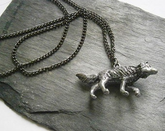 Wolf Pendant Necklace, Pewter Realistic